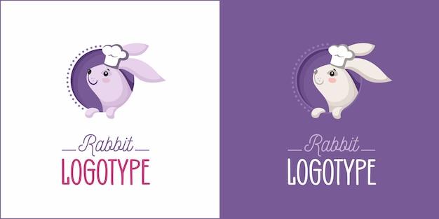 Logo di panetteria con coniglio in cappello da chef Vettore Premium