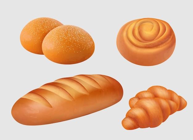 Panetteria realistica. dolci per la colazione, pagnotta, focacce, bagel, illustrazioni di prodotti di pane a fette pretzel Vettore Premium
