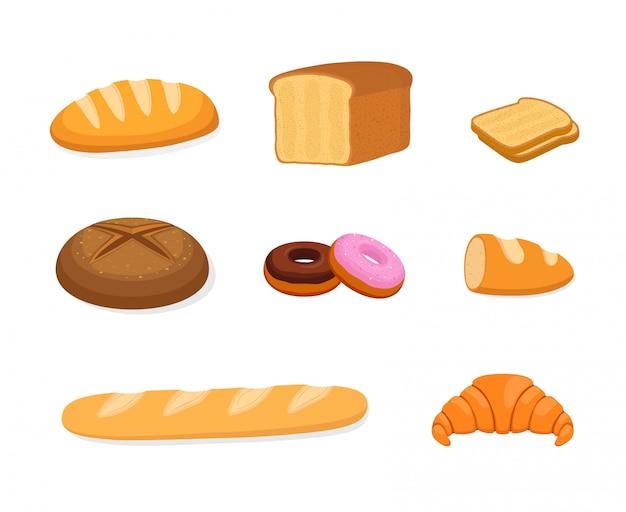 Set da forno - panino, pane di segale e cereali Vettore Premium