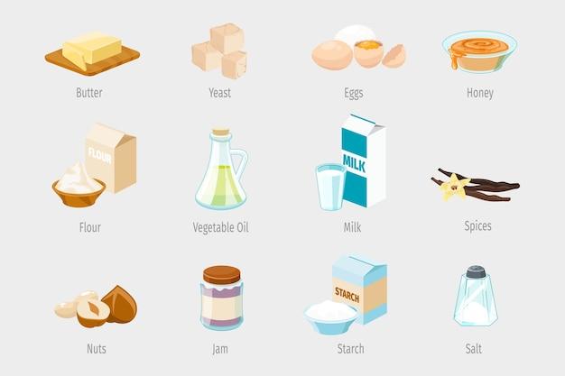 Ingredienti per la cottura in stile cartone animato. set di icone di cibo vettoriale. illustrazione di olio vegetale, farina e miele, marmellata e noci, spezie e zucchero Vettore Premium