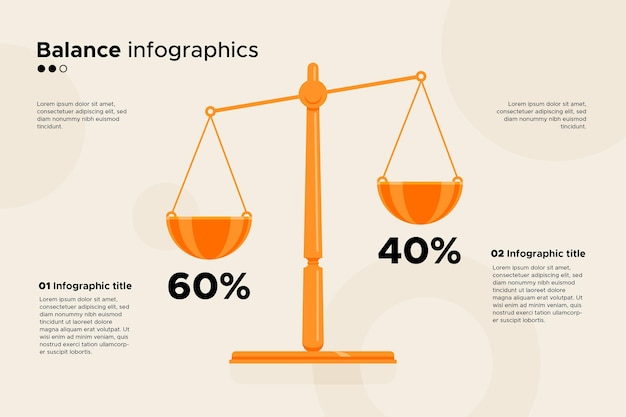 Equilibrio infografica concetto di business Vettore Premium