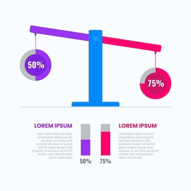 Equilibrio del concetto di infografica Vettore Premium