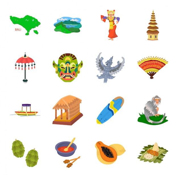 Icona stabilita del fumetto di bali dell'indonesia. viaggio indonesiano. icona stabilita isolata del fumetto bali dell'indonesia. Vettore Premium