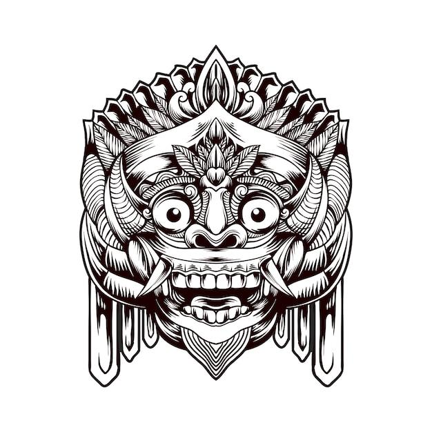 Maschera tradizionale barong balinese Vettore Premium