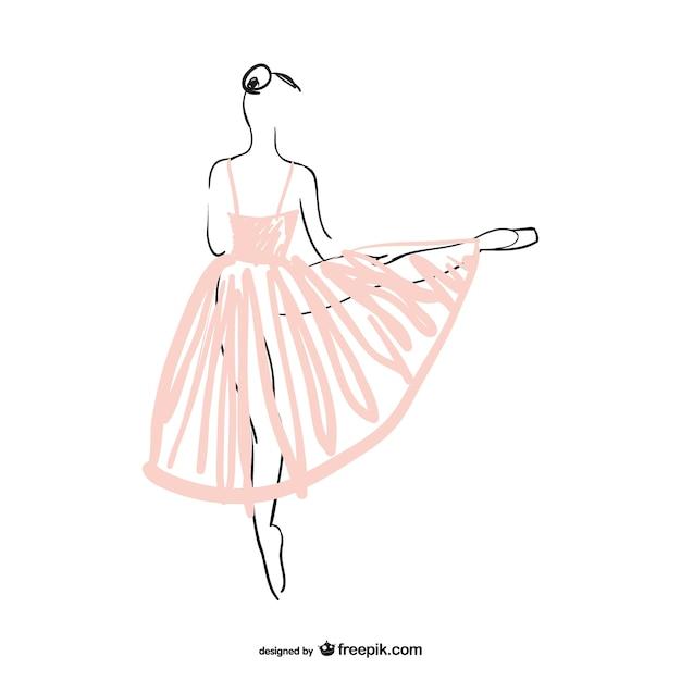 Illustrazione vettoriale ballerina Vettore Premium