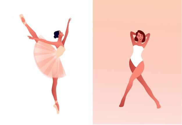 Ballerina e ballerino moderno set piatto illustrazione. bellezza del balletto classico. giovane ballerina graziosa donna che indossa tutu. scarpe da punta, colori pastello Vettore Premium