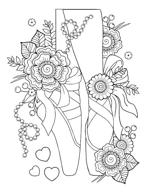 Ballerine con disegno floreale Vettore Premium