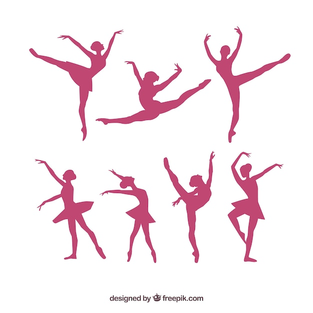 Ballerina silhouettes vector pack Vettore Premium