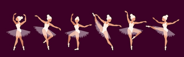 Ballerine. set di personaggi di ballerino di balletto. performance di bella ragazza bionda. ragazze in scarpe da punta e tutu di balletto. donne aggraziate sul palco. concetto di opera. Vettore Premium