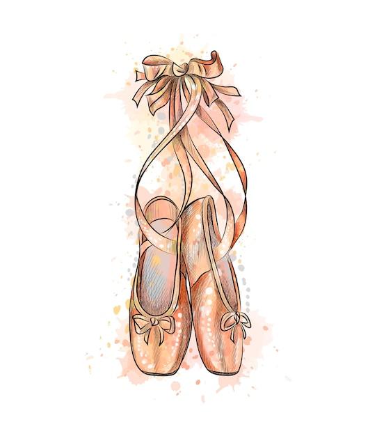 Ballerine, scarpe da punta da una spruzzata di acquerello, schizzo disegnato a mano. illustrazione di vernici Vettore Premium