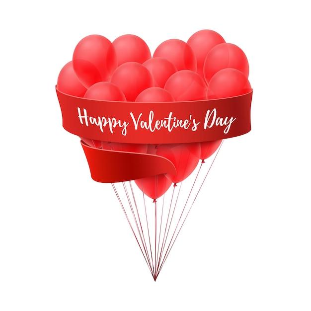 Palloncini a forma di cuore con nastro rosso isolato su sfondo bianco. Vettore Premium