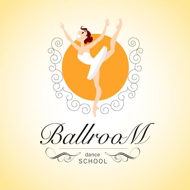 Logo della scuola di ballo da sala con carattere della ballerina. illustrazione. Vettore Premium