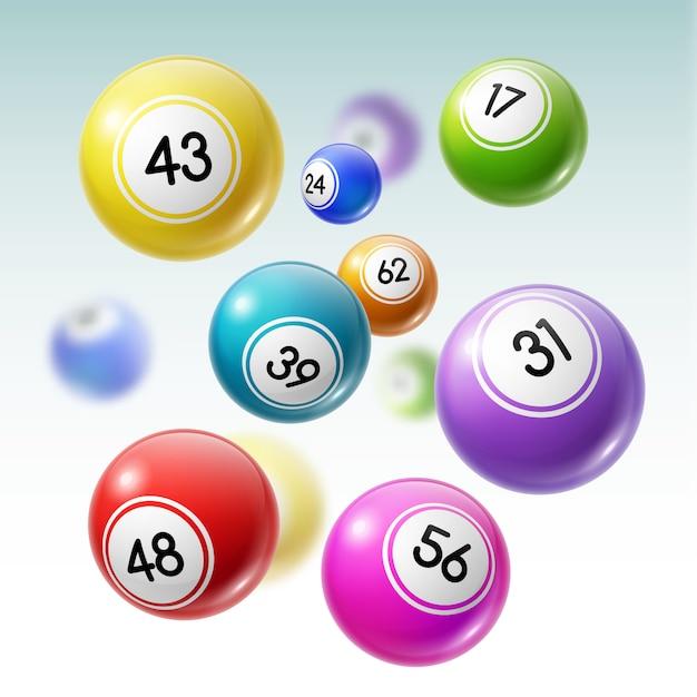 Palle con numeri di lotteria, lotto o gioco del bingo Vettore Premium