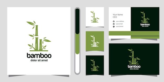 Modello di progettazione di logo e biglietto da visita di bambù. Vettore Premium