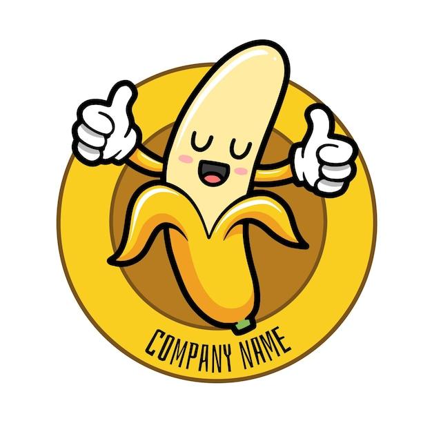 Modello di logo del personaggio di banana Vettore Premium
