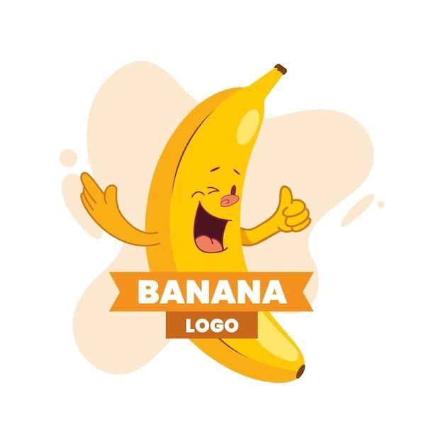 Logo del personaggio di banana Vettore Premium