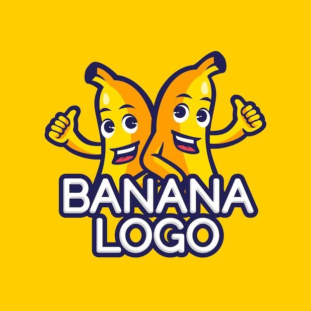 Modello di logo di caratteri di banana Vettore Premium