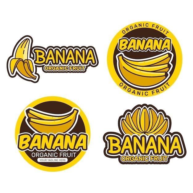 Collezione logo banana Vettore Premium