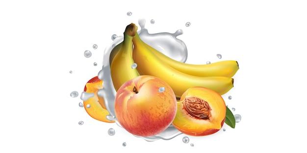 Banane e pesche e una spruzzata di yogurt o latte su uno sfondo bianco. illustrazione realistica. Vettore Premium