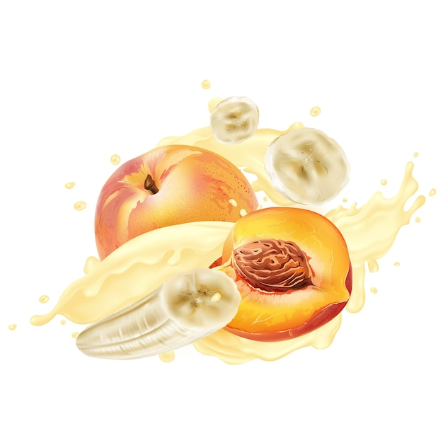 Banane e pesche in yogurt o frappè schizza su uno sfondo bianco. illustrazione realistica. Vettore Premium
