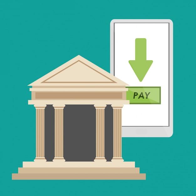 Lo smartphone per la costruzione di una banca paga online Vettore Premium