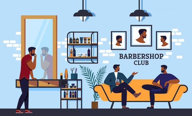 Banner barbershop club che tutti puliscono la barba Vettore Premium