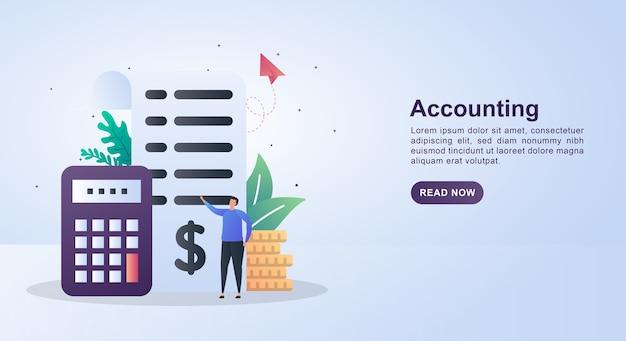 Concetto di banner di contabilità con rapporti cartacei e calcolatrici. Vettore Premium