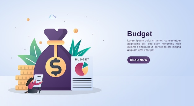 Concetto di banner di bilancio con rapporti cartacei e sacco di soldi. Vettore Premium