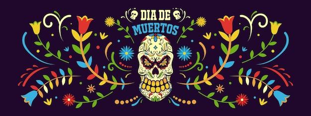 Banner giorno dei morti in messico, modello di vacanza dia de los muertos Vettore Premium