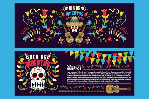 Banner flyer day of dead in mexico, dia de los muertos holiday party template Vettore Premium