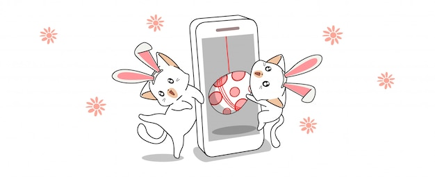 Banner saluto kawaii coniglietti stanno trovando uovo nel giorno di primavera Vettore Premium