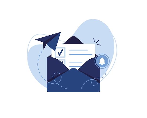 Illustrazione della bandiera di email marketing e concetto di messaggio. lettera, foglio in una busta, segno di spunta. invio dell'applicazione. ricevi notizie. documento compilato. avviso e campana. blu e bianco. Vettore Premium