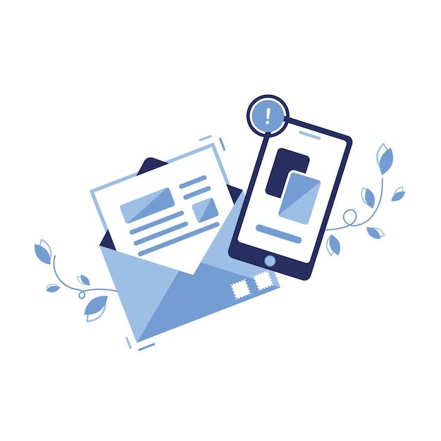 Icona illustrazione banner di e-mail marketing e concetto di messaggio. lettera, foglio in una busta. invio dell'applicazione. per siti, web. carta. telefono, newsletter. avviso importante. articolo. Vettore Premium