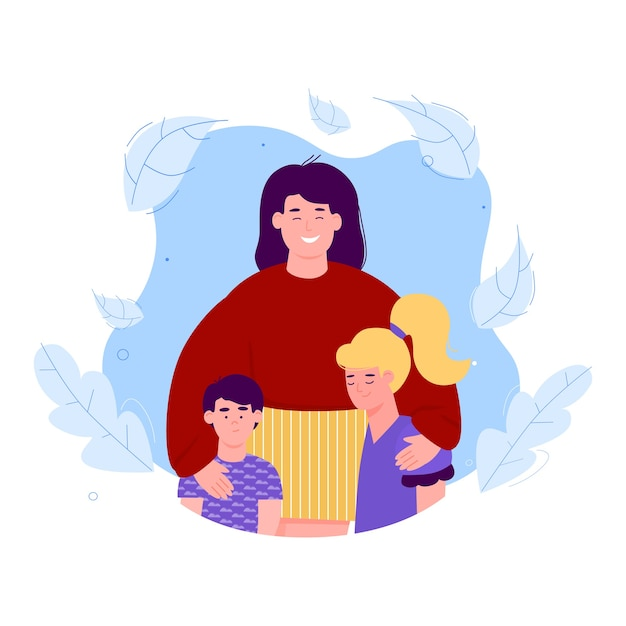 Banner per la celebrazione della festa della mamma, biglietto d'auguri o assicurazione familiare con madre e figli Vettore Premium