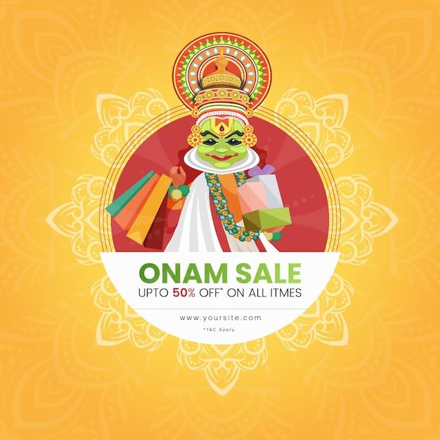 Banner di onam sale con kathakali ballerino che tiene borse della spesa e regali Vettore Premium