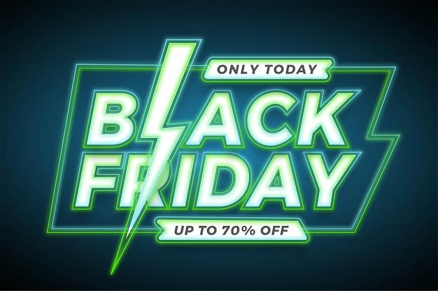 Banner promozione vendita, black friday con effetto neon verde concetto Vettore Premium
