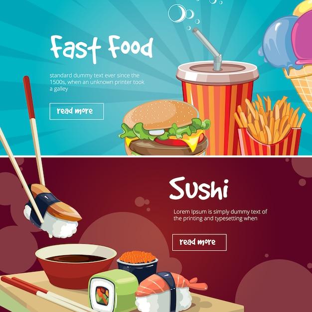 Set di banner di fast food Vettore Premium