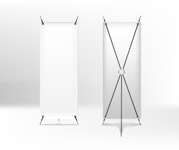 Banner spider vuoto per la pubblicità. roll up frontale e vista di ritorno. banner x-stand isolato su sfondo bianco Vettore Premium