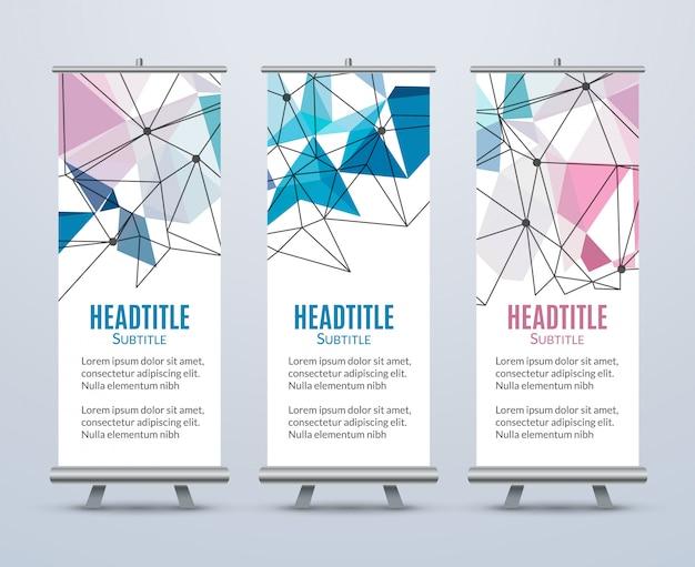 Banner stand design template con sfondo geometrico astratto. modello promozionale Vettore Premium