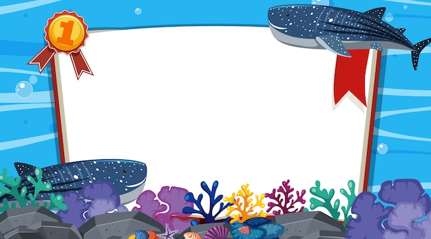 Modello dell'insegna con due balene che nuotano sotto il mare Vettore Premium