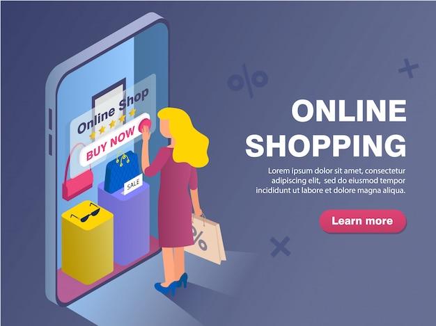 Modello dell'insegna con acquisto della donna nel negozio online Vettore Premium
