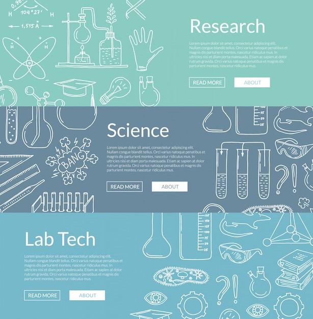 Modelli di banner con elementi scientifici disegnati a mano Vettore Premium