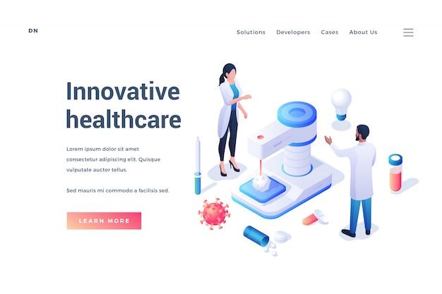 Banner della pagina web sull'assistenza sanitaria innovativa con i medici Vettore Premium