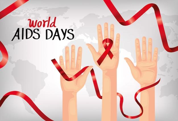 Banner della giornata mondiale dell'aids con le mani e il nastro Vettore Premium
