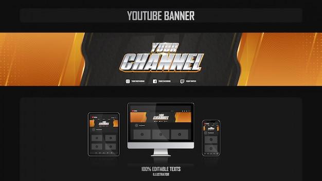 Banner per canale youtube con il concetto di fitness Vettore Premium