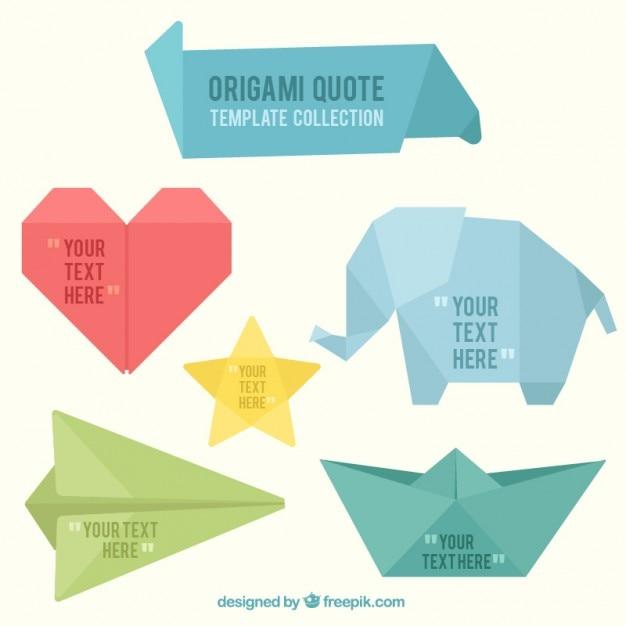 Origami banners forme divertenti Vettore Premium