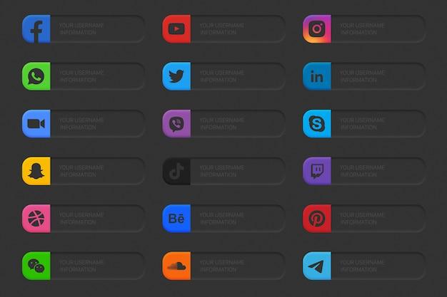 Banner social media terzo inferiore set di icone Vettore Premium