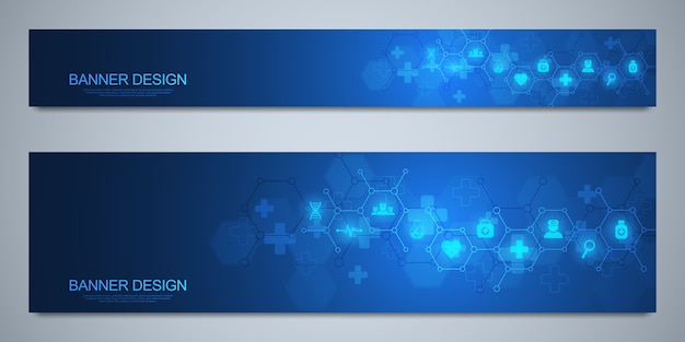 Modello di banner per la decorazione sanitaria e medica con icone e simboli. concetto di scienza, medicina e innovazione tecnologica. Vettore Premium