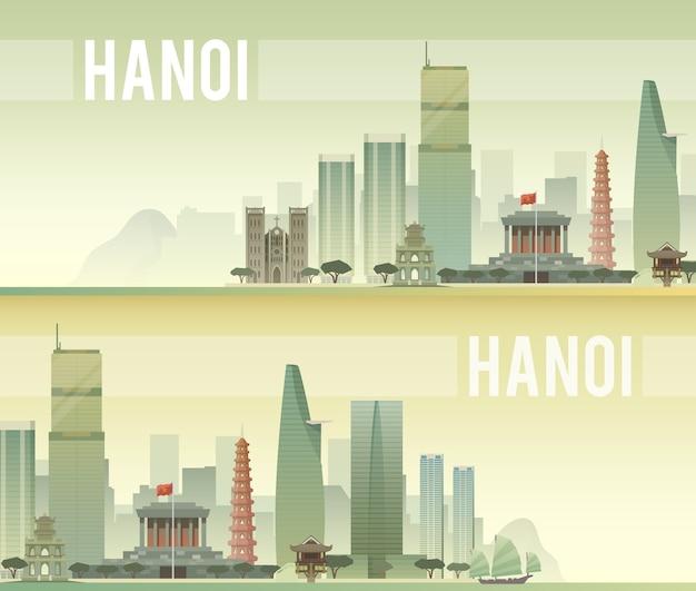 Striscioni del paesaggio urbano di hanoi Vettore Premium