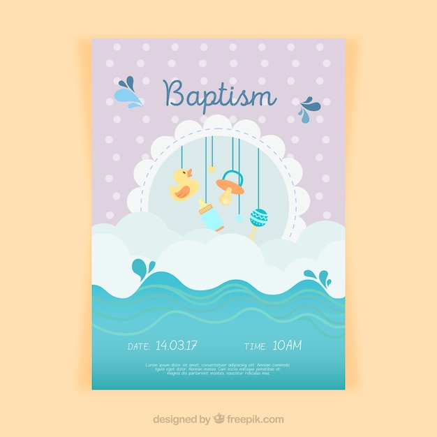 Battesimo invito design Vettore Premium